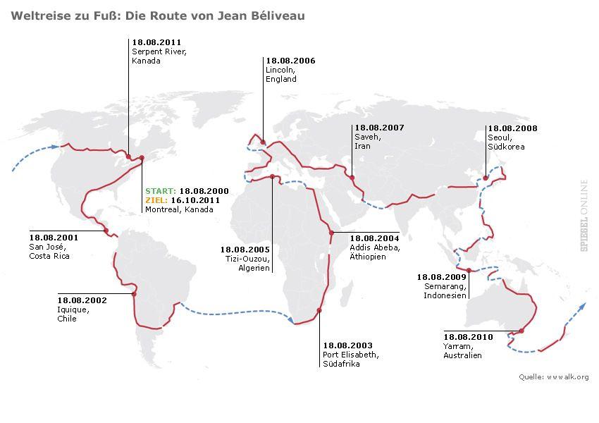 Karte - Weltreise zu Fuß - v2
