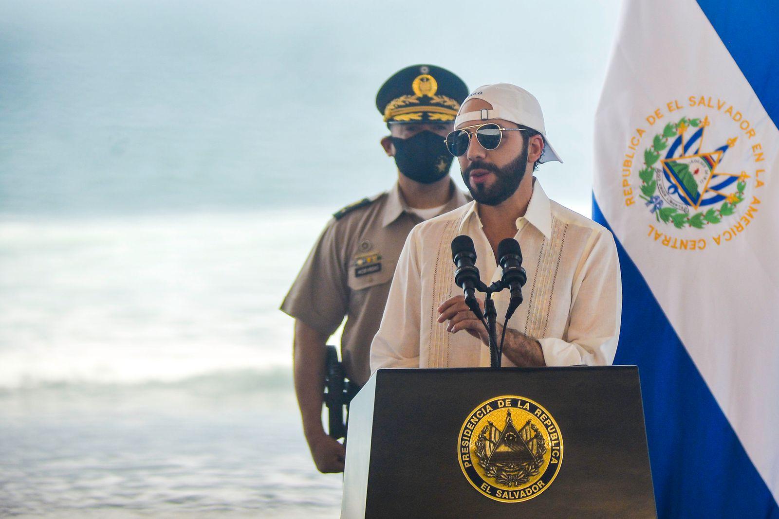 Salvadoran President, Nayib Bukele speaks during the event.