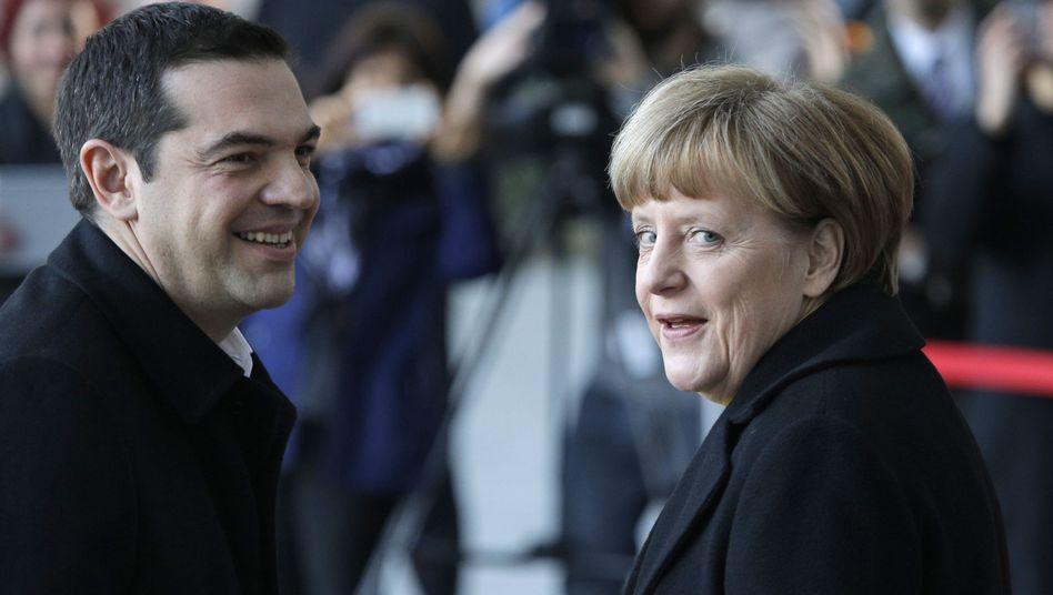 Ministerpräsident Tsipras, Kanzlerin Merkel (Archivbild): Drei Knackpunkte