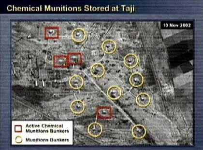 Powell-Materialien: Angeblich aktive Chemiebunker (rot) und Munitionsbunker (gelb)