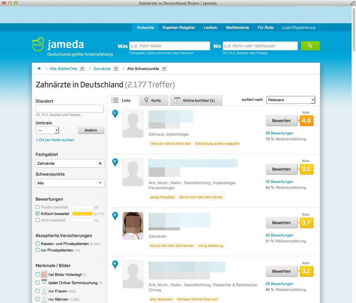 NUR ALS ZITAT Screenshot Jameda/ Website/ BGH-Urteil/ Ärzteempfehlung
