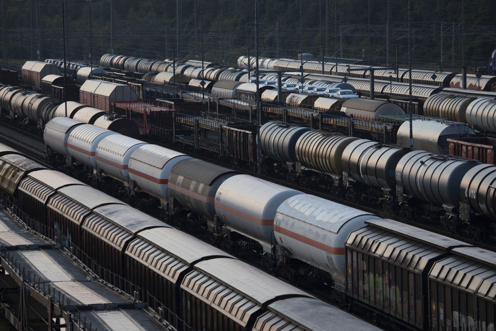 Freight Wagons In A Railway Stockyard