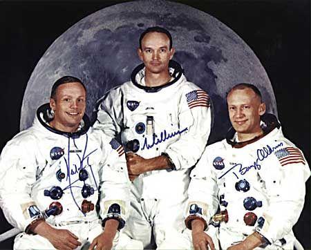 Die Besatzung: Kommandeur Neil Armstrong, Kapsel-Pilot Michael Collins und Mondfähren-Pilot Edwin E. Aldrin, Jr.