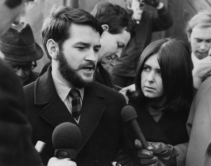 Dafydd Iwan 1970 nach seiner Entlassung aus dem Gefängnis: Bei Aktionen und Protesten immer vorn dabei