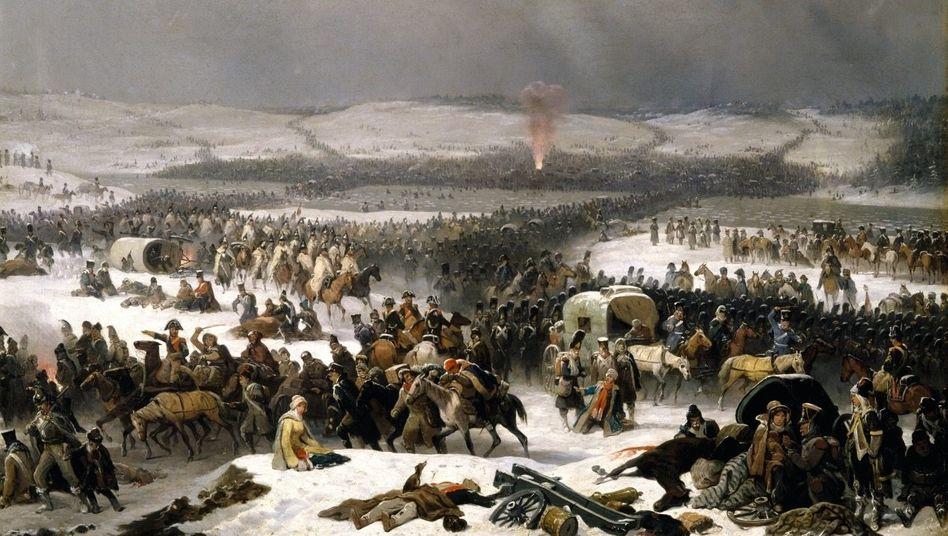 Der Rückzug der Franzosen über den Fluss Beresina wurde zum grausamen Tiefpunkt des Feldzugs (Gemälde von January Suchodolski, um 1859).