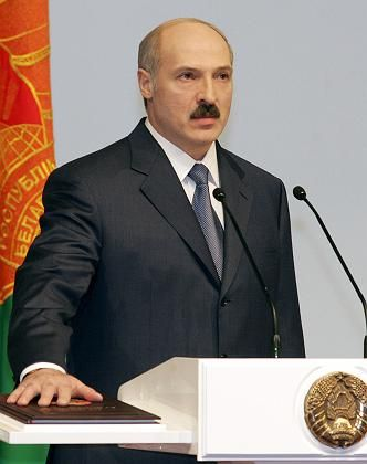 President Alexander Lukashenko and 35 other officials have had their bank accounts frozen by the EU.