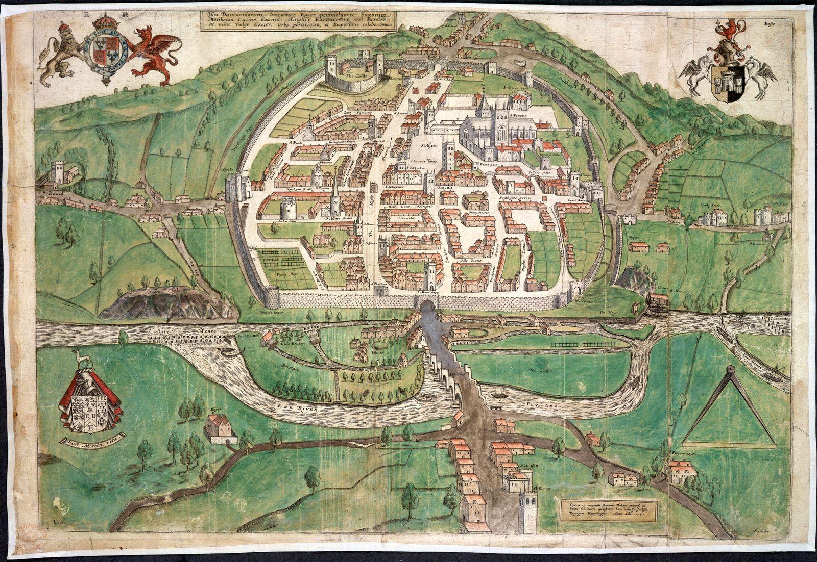 ANGLETERRE XVIeme s. Carte d Exeter en Angleterre realisee par Remigius Hogenberg vers 1587 (16e, XVIe s.) Credit : Coll
