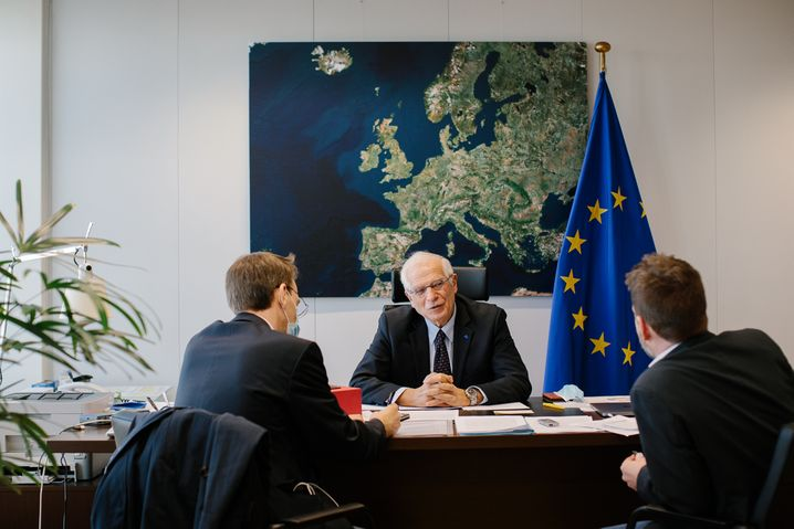 Josep Borrell during his interview with DER SPIEGEL at the European Commission's headquarters in Brussels.