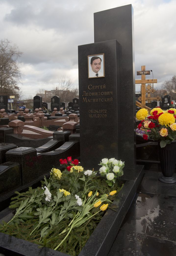 Sergei Magnitsky's grave at a cemetery in Moscow.