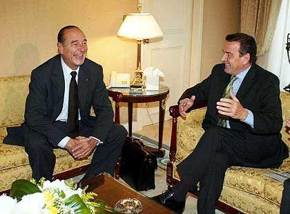 Fröhliche EU-Partner: Chirac und Schröder