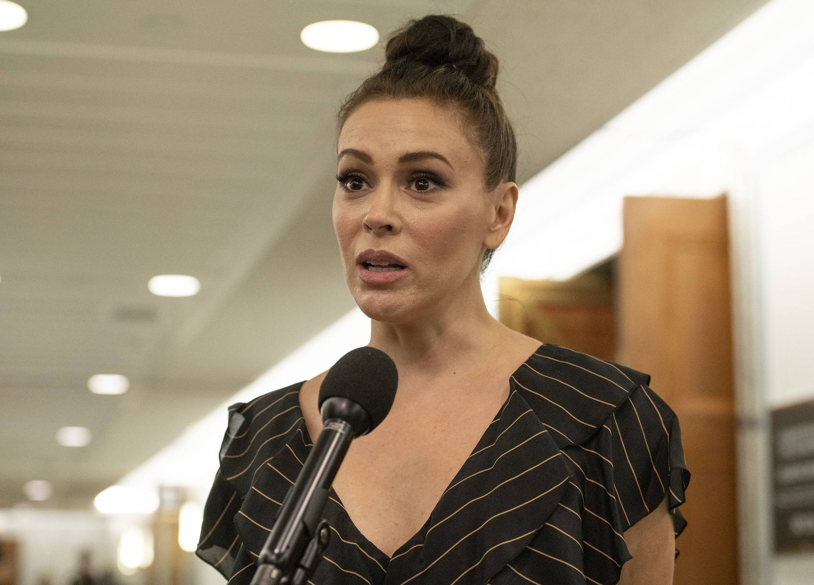 September 27 2018 Washington District of Columbia U S Actress Alyssa Milano is interviewed a