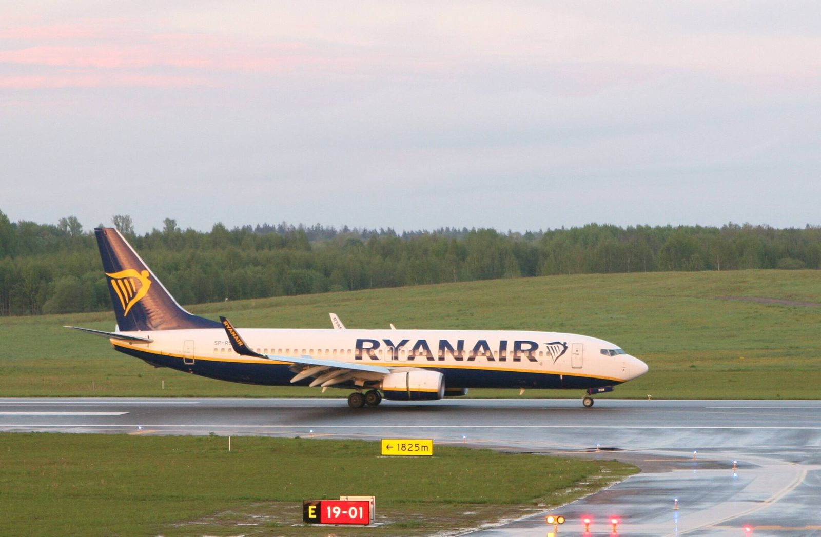 2021-05-23 Vilnius Lithuania. Ryanair Boeing 737 SP-RSM lands in Vilnius from Minsk at about 21:30 local time on Sunday