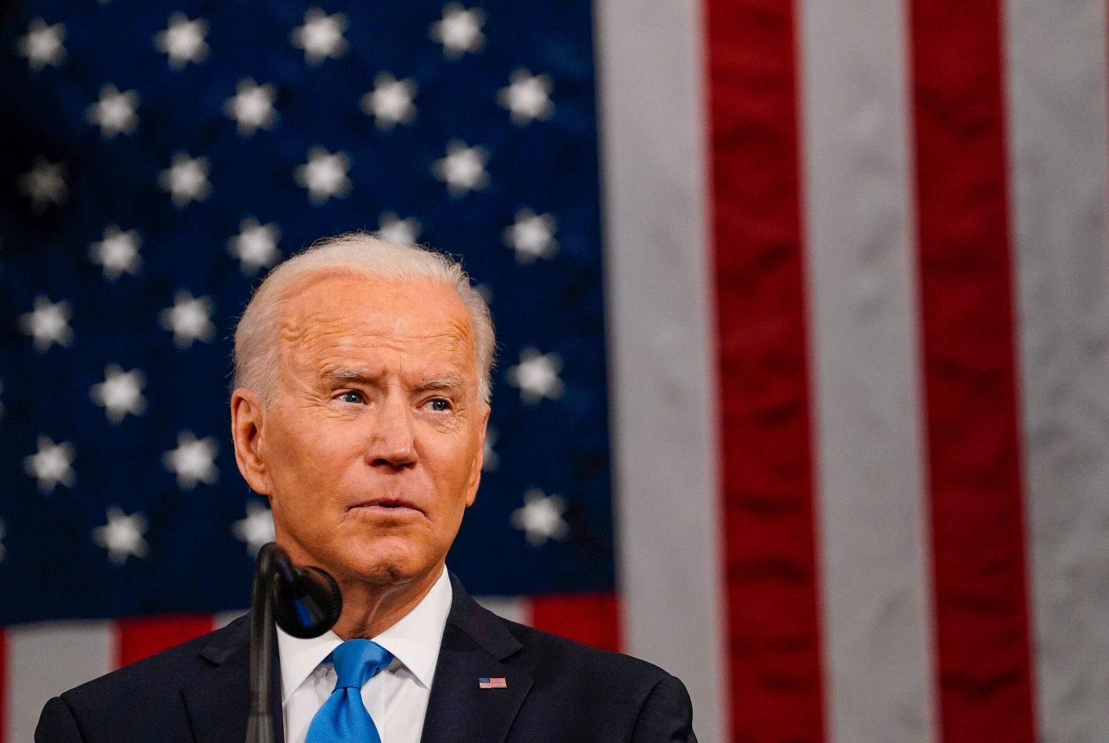 April 28, 2021, Washington, District of Columbia, USA: WASHINGTON, DC - APRIL 28: President Joe Biden addresses a joint