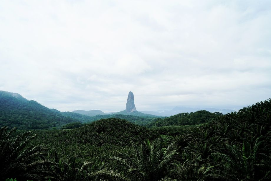 The volcanic formation Pico Cão Grande is one of the tropical island's best known landmarks.