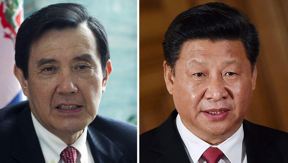 Staatschefs aus Taiwan (l.) und China: Ein Treffen von historischer Bedeutung
