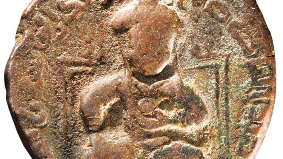 Kupfermünze mit dem Abbild von Saladin, um 1190
