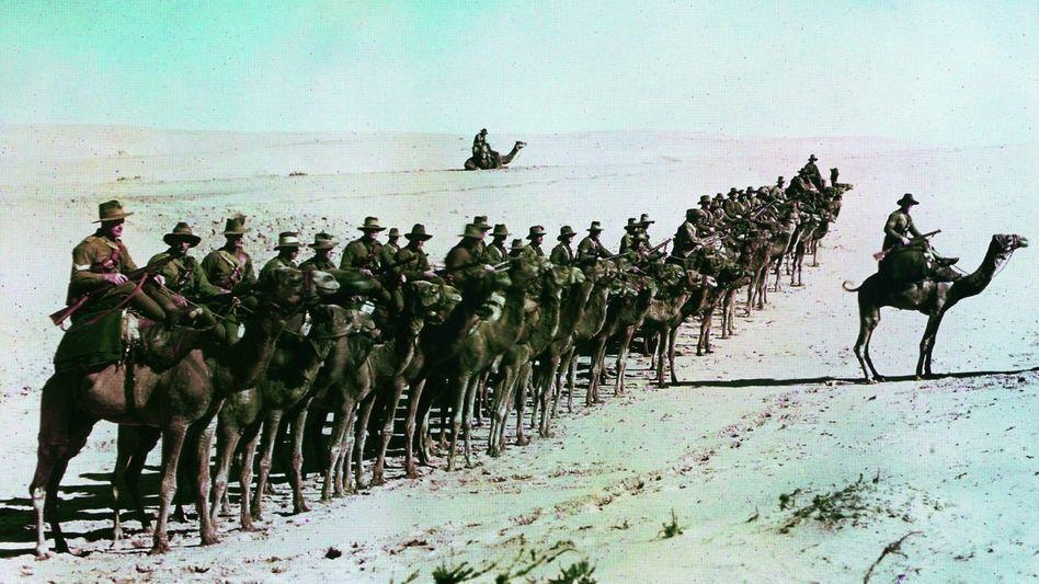 Australische Soldaten auf der Sinai-Halbinsel 1918 Eine Linie im Wüstensand