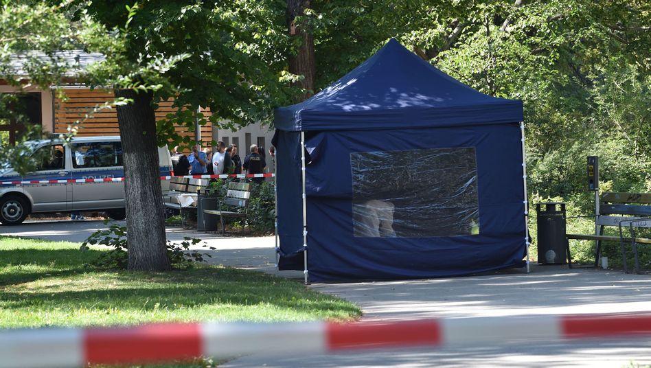 """Tatort im Kleinen Tiergarten (Foto vom 23. August): Mehrere Details weisen """"auf nachrichtendienstlichen Hintergrund hin"""""""