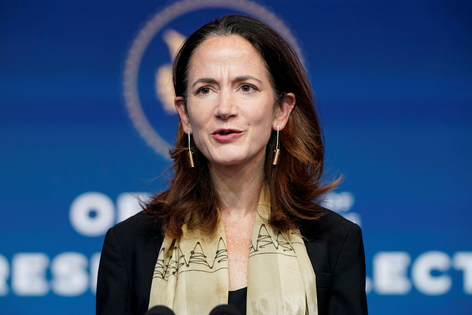FILE PHOTO: President-elect Joe Biden's nominee to be Director of National Intelligence Avril Haines speaks in Wilmington, Delaware