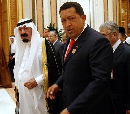 König Abdullah und Präsident Chávez: Der Venezolaner wurde für seinen Fauxpas nicht zurechtgewiesen