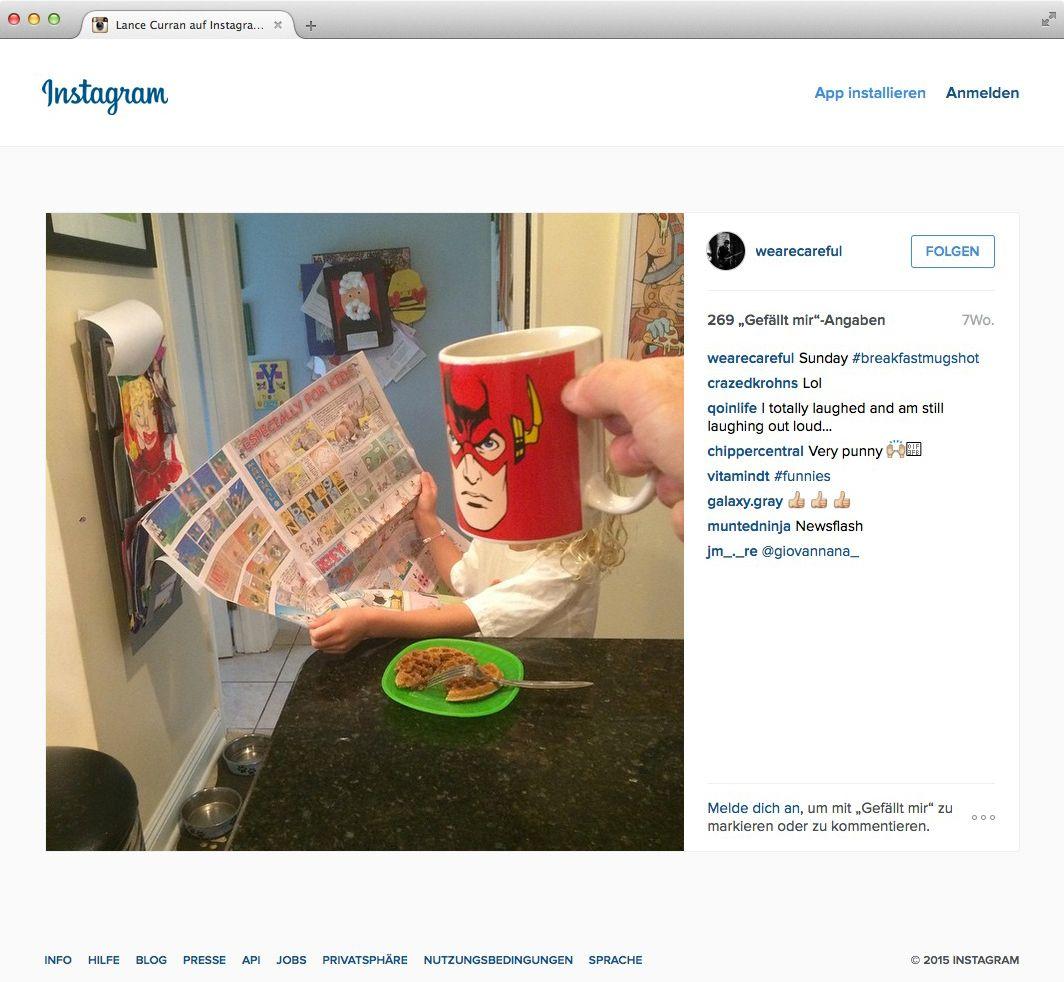 NUR ALS ZITAT Screenshot Instagram/ Tasse Superheld Instagram