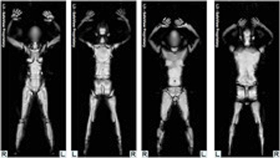 Airport security has changed. Here, images showing whole body scans from a millimeter wave machine now in use in the US.