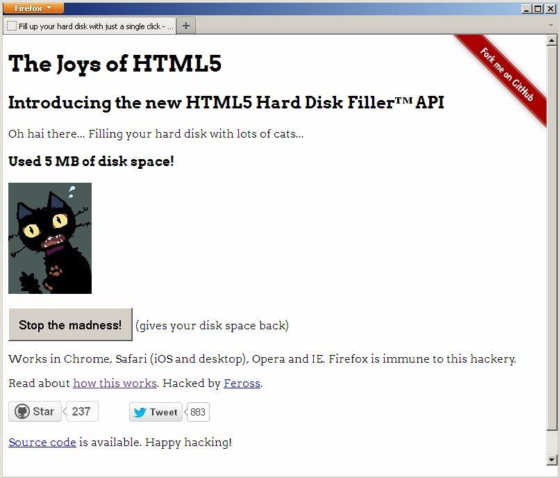 NUR ALS ZITAT Screenshot HTML5 Hard Disk Filler