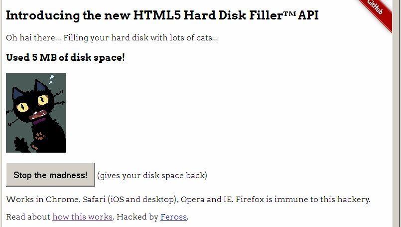 Vorführ-Webseite für den Speicher-Hack: Katzenbilder müllen den Massenspeicher voll