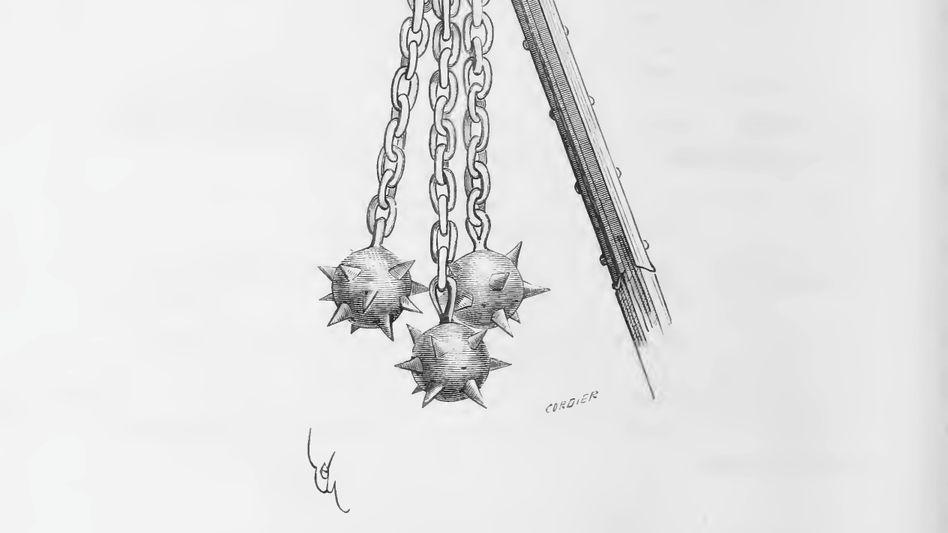 Gefährlich: Der Streitflegel war eine tödliche Waffe (Zeichnung von 1874).