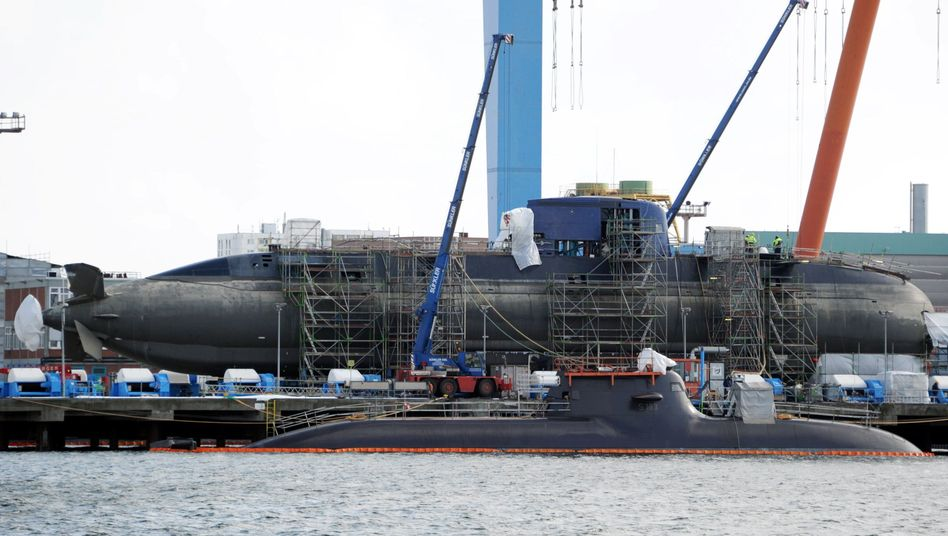 A submarine under construction in Kiel. This particular boat was built for export to Israel but many similar models are heading for Asia.