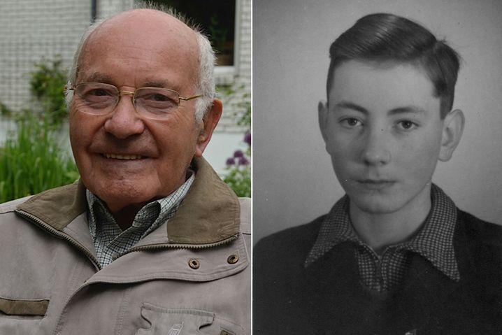 Links: Heinz Schütze 2013 in Selen auf der Insel Rügen, wo der gebürtige Leipziger heute wohnt. Rechts: Heinz Schütze, 1942.