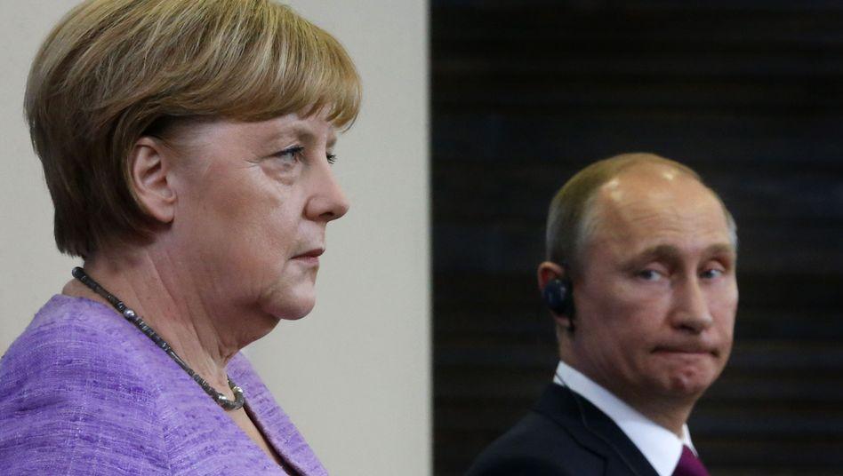 Merkel und Putin (im Juni in St. Petersburg): Abstimmungen über Syrien-Frage