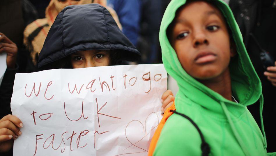 Proteste von Geflüchteten in Calais am Mittwoch