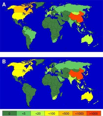 Rechenmodell und Realität: Das obere Bild zeigt die Ausbreitung von Sars am 30. Mai 2003, das untere die Prognose nach 90 Tagen mit dem Ursprungsort Hongkong