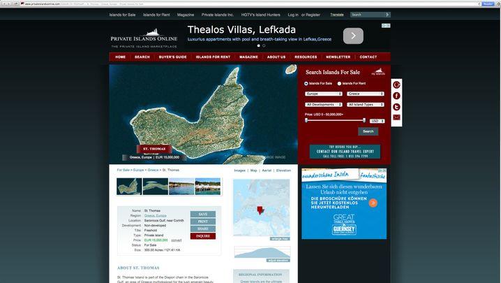 Screenshot privateislandsonline.com: Eine Insel als Statussymbol