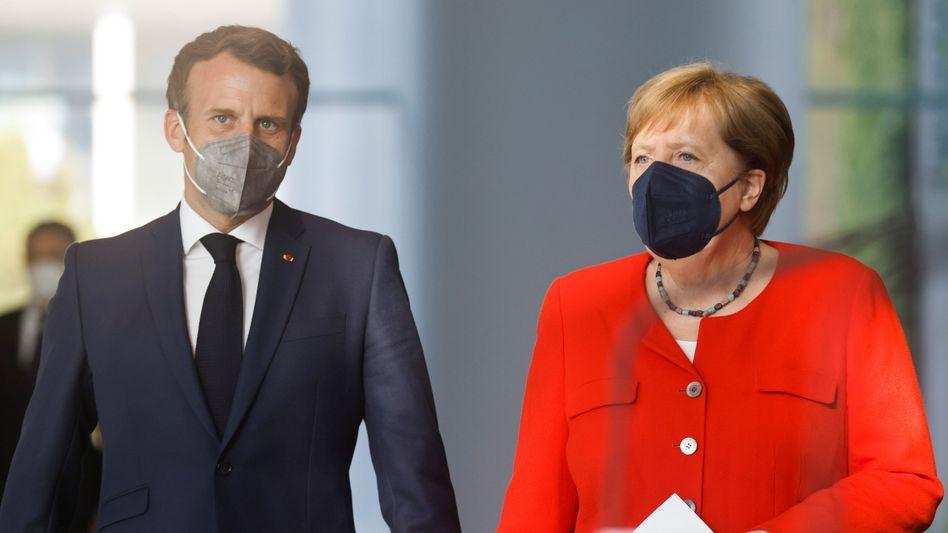Bundeskanzlerin Angela Merkel und Frankreichs Präsident Emmanuel Macron bei einem Treffen in Berlin