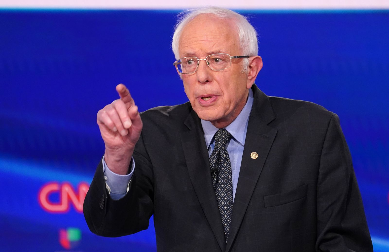 Democratic U.S. presidential candidate Senator Bernie Sanders speaks at the 11th Democratic candidates debate of the 2020 U.S. presidential campaign in Washington