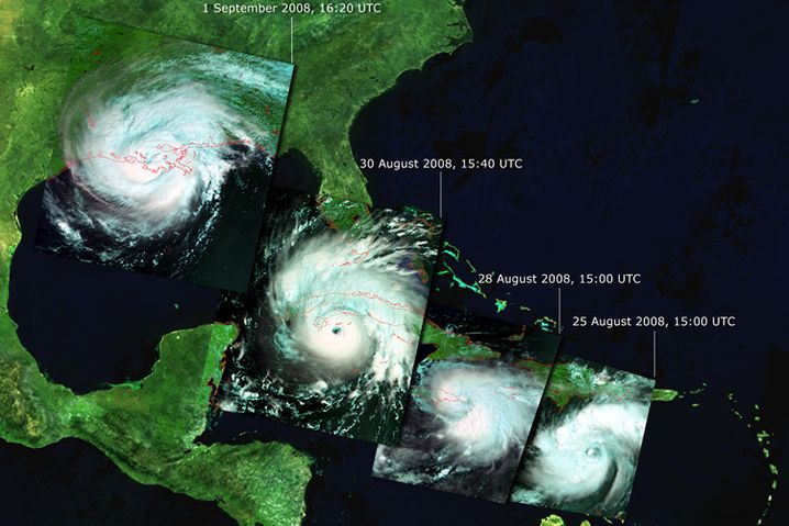 """Werdegang von Hurrikan """"Gustav"""" (Klicken für Großansicht)"""