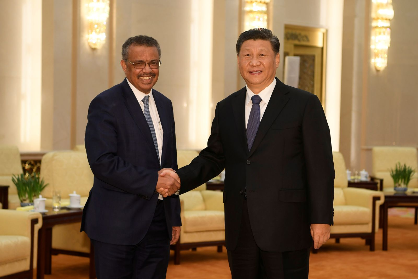 Tedros Adhanom, director general of the World Health Organization, shakes hands with Chinese President Xi jinping before a meeting at the Great Hall of the People in Beijing