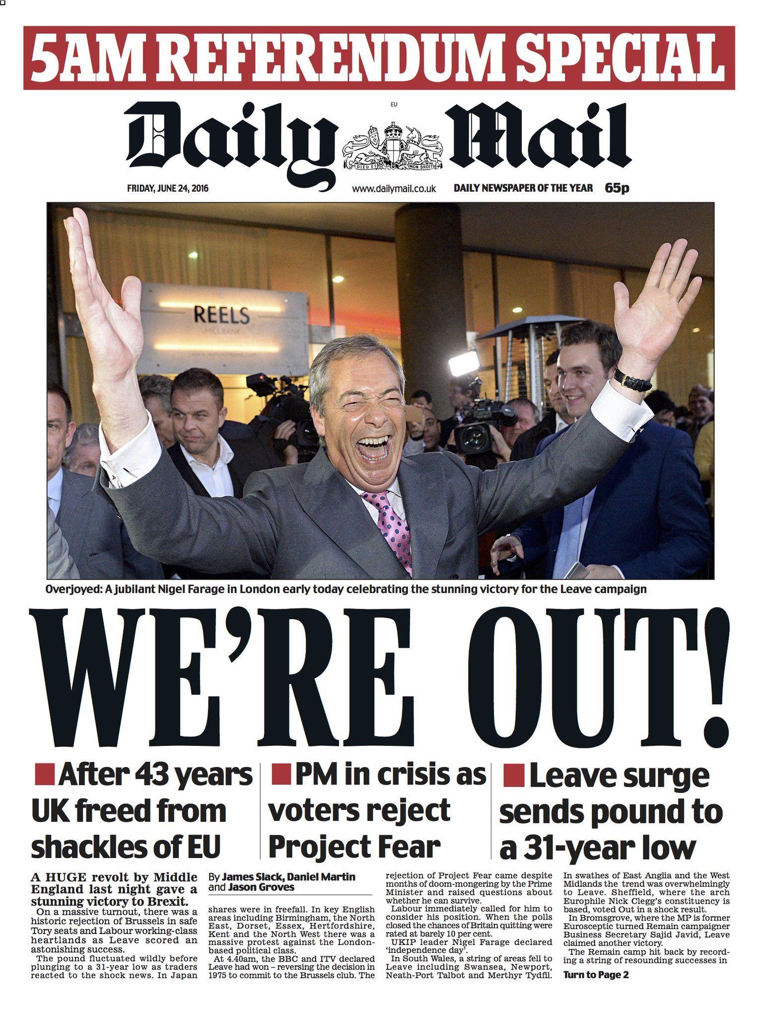 EINMALIGE VERWENDUNG Daily Mail/ Frontpage/ Brexit