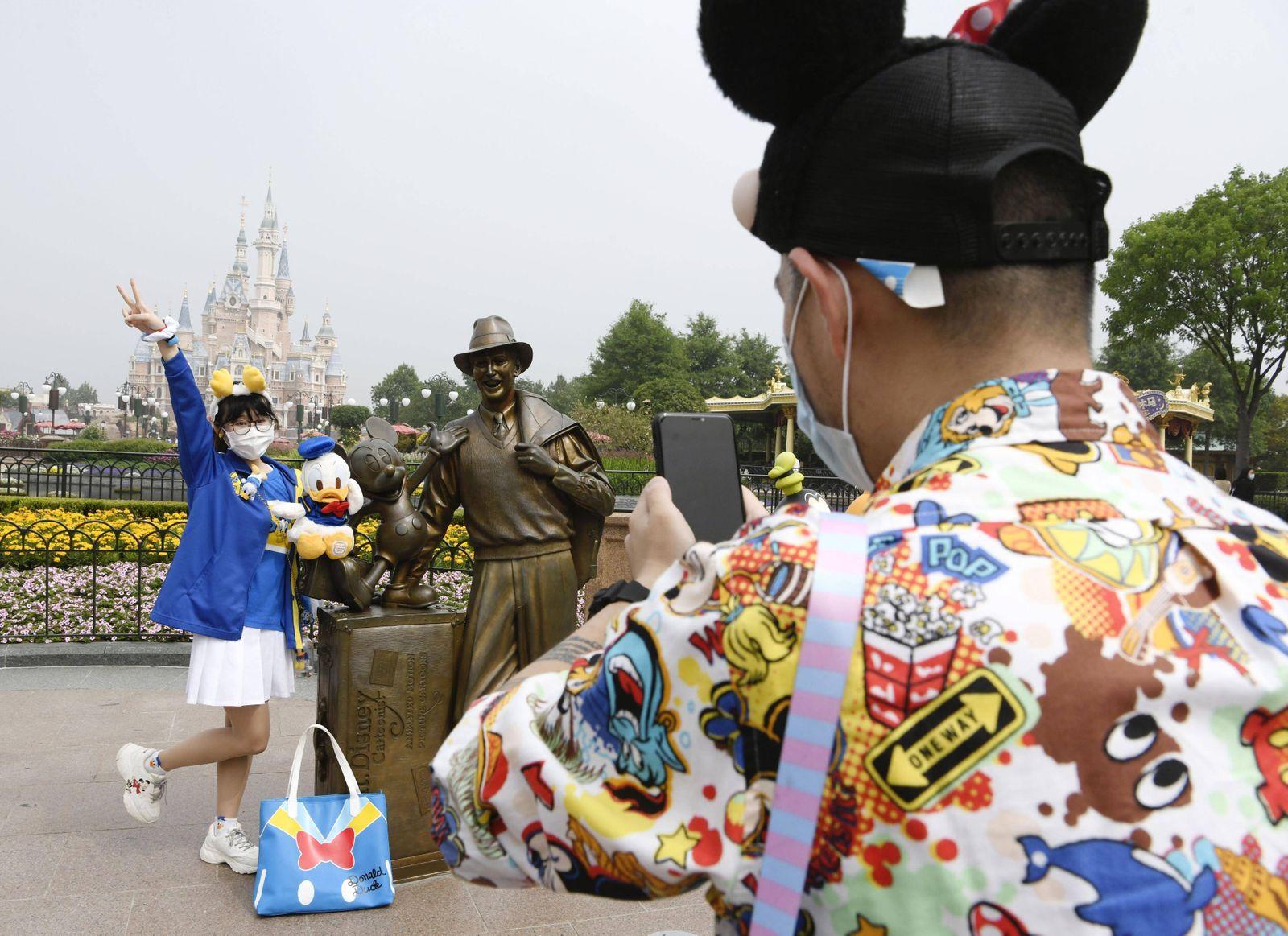Reopening of Shanghai Disneyland People visit Shanghai Disneyland on May 11, 2020, the day it reopened amid signs of im