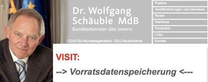 Nicht im Sinne des Betreibers: Für kurze Zeit machte die Web-Seite von Innenminister Wolfgang Schäuble Werbung für Gegner der Vorratsdatenspeicherung