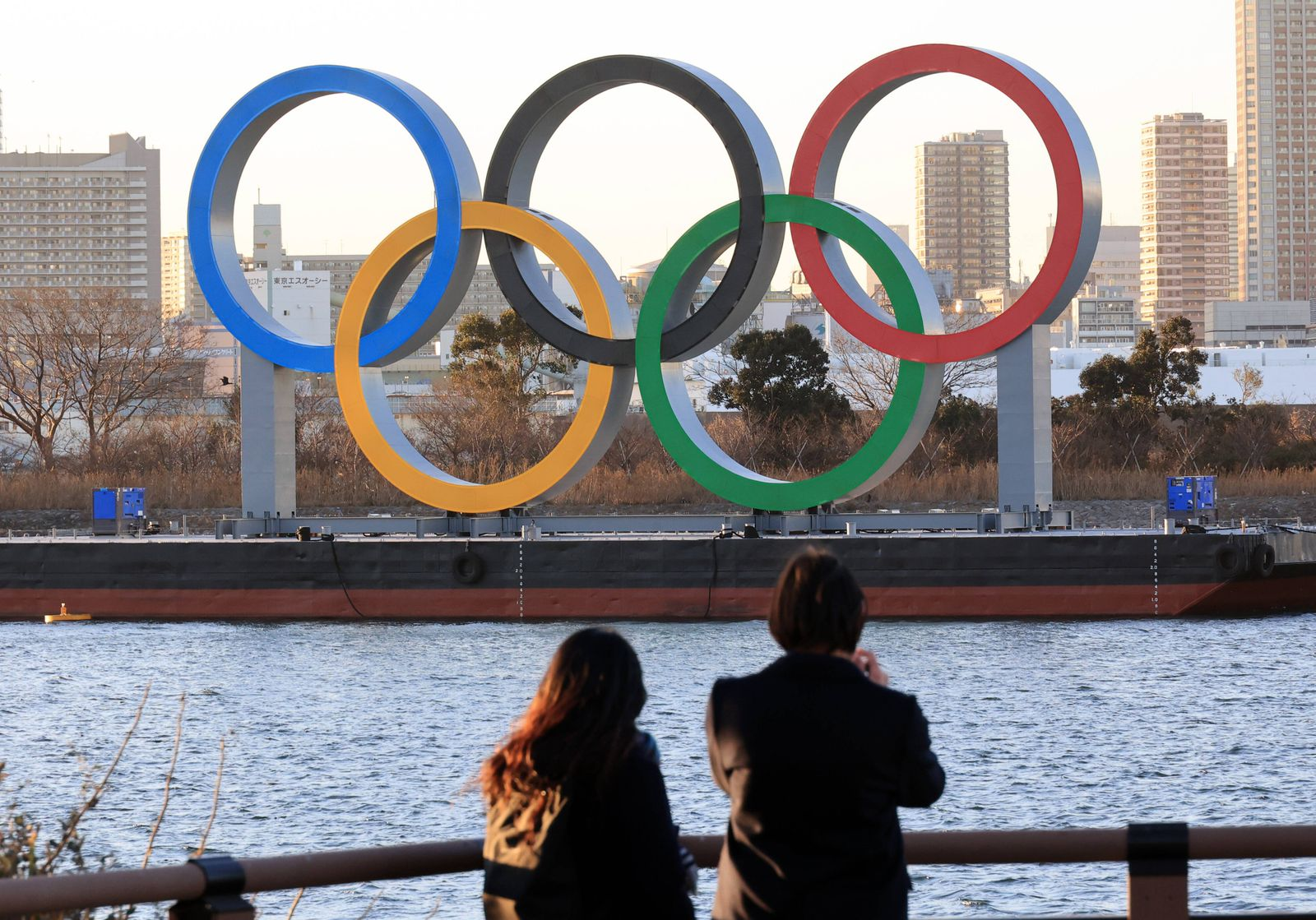 January 19, 2021, Tokyo, Japan - Large Olympic symbol five rings are displayed at Tokyo s waterfront Daiba on Tuesday,