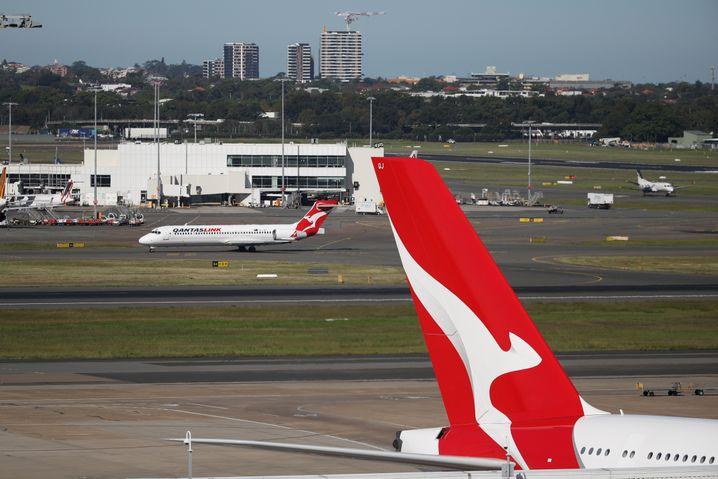 Bleiben derzeit am Boden: Die Flieger der Qantas Airways