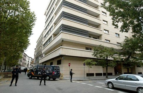 Enemies everywhere: The National Court in Madrid, guarded in 2004 when suspected Islamic extremists were believed to be plotting a bomb attack.