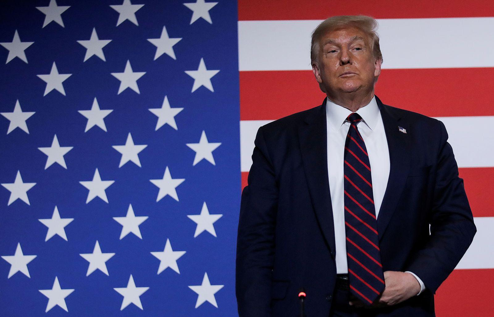 U.S. President Trump visits American Red Cross National Headquarters in Washington