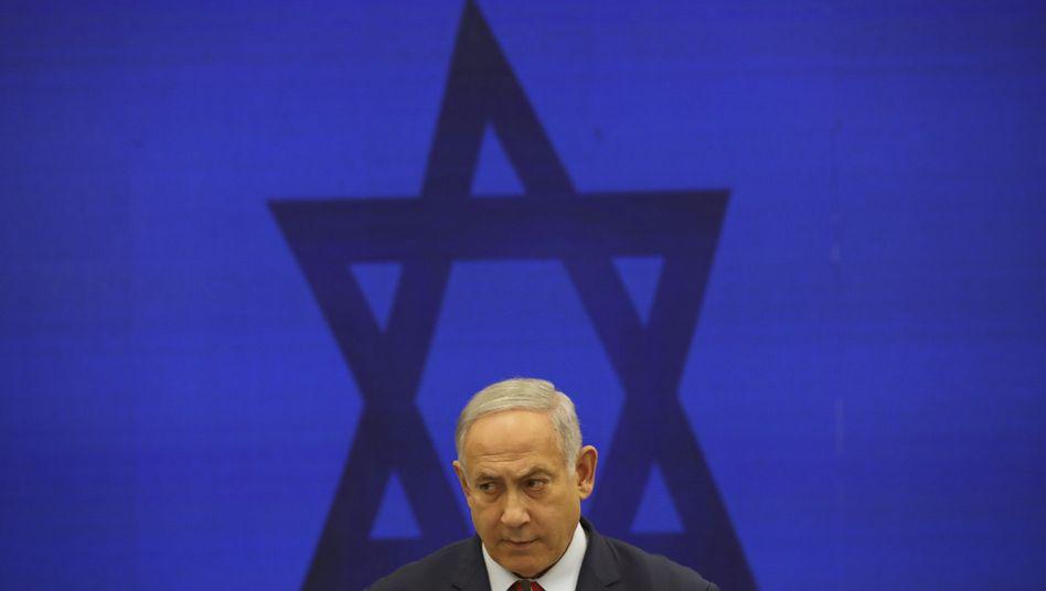 """Israels Premier Netanyahu am Dienstag in einer Pressekonferenz: """"Zeichen von Verzweiflung"""""""