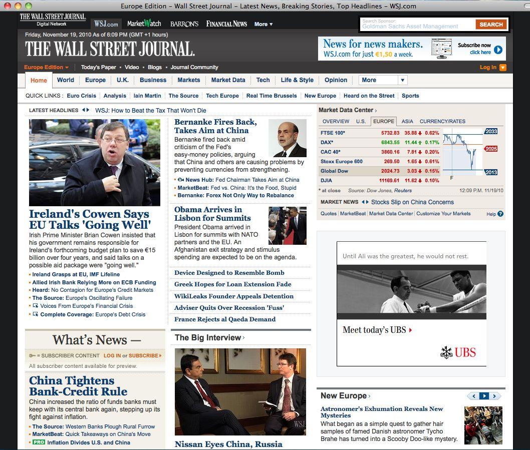 NUR ALS ZITAT Screenshot / Wall Street Journal