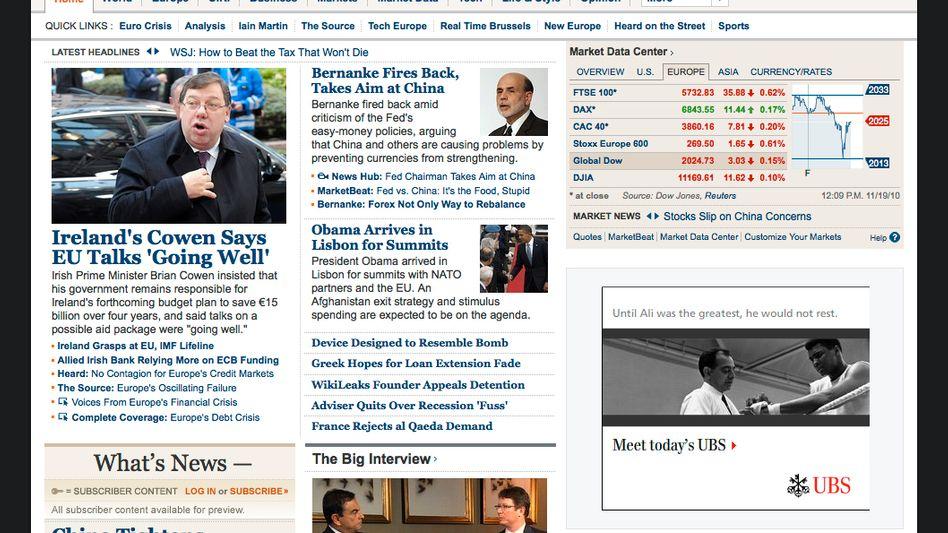 """Screenshot von """"Wall Street Journal"""" Online: """"Erfolgreiches Bezahlmodell"""""""