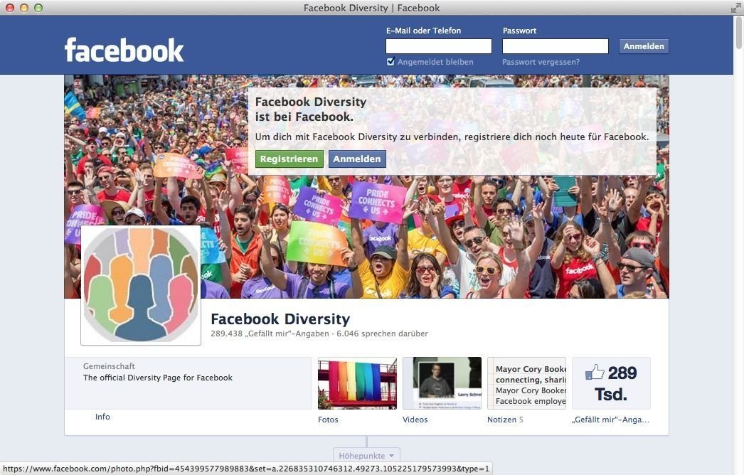 NUR ALS ZITAT Screenshot Facebook Diversity